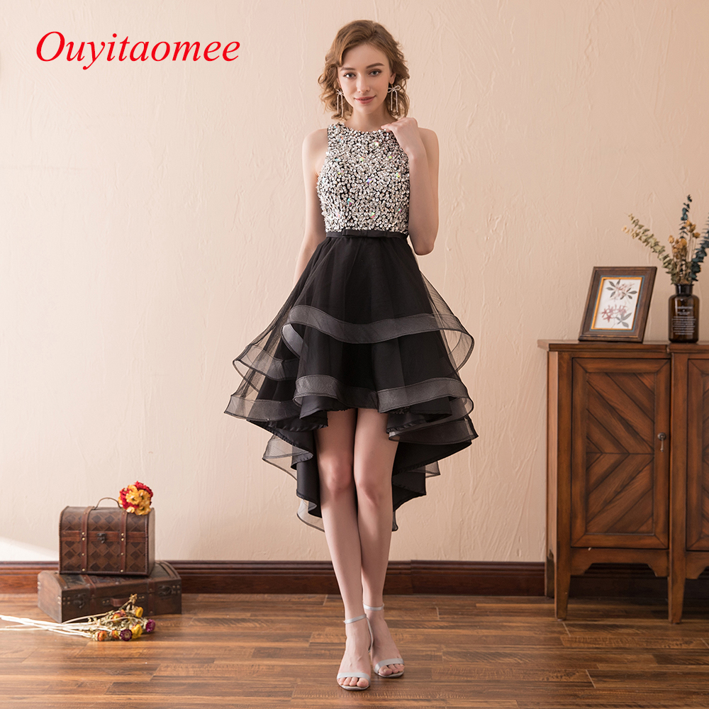 2018 Sexy Short Short Front Long back   Prom     Dress   Scoop Neckline Black Ruffles Tulle High Low Woman Party   Dresses   Sequin Evening
