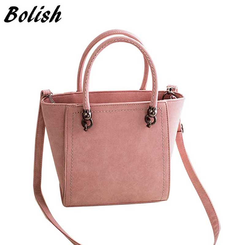 Bolish New Arrival High Quality Nubuck Leather Top-Handle Bags Simple Women Shoulder Bag Women Messenger Bag