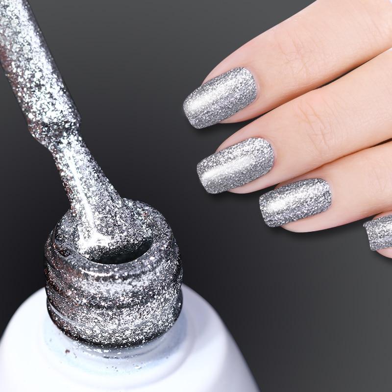 NASCIDO BONITA Prego Glitter Platinum Gel Polonês 10 ml Soak Off Nail Art Gel UV Verniz Manicure Dicas Cor UV Esmalte Polonês