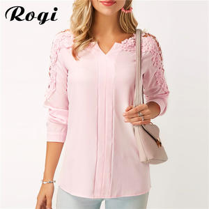 1244c6c3624 Rogi Summer Lace Women Long Sleeve Shirt Tops Plus Size