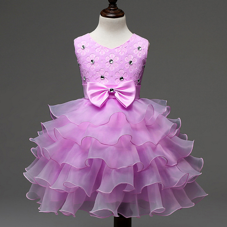Beading Lace Ruffle Dress In Baby Girls Flowers Girl Hot Pink Purple ...