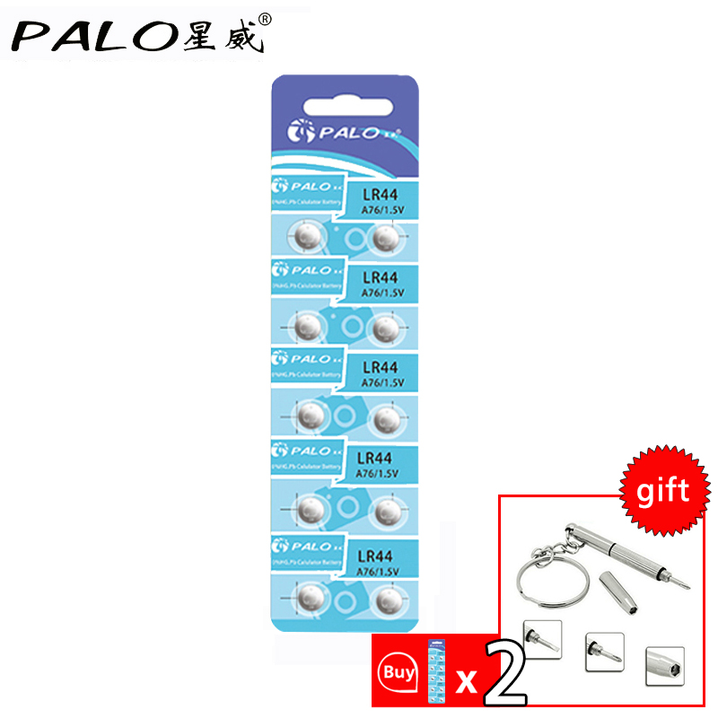 PALO 100% Original 10pcs LR44 battery Cheap LR44 1.5V Button  Cell Battery Batteria For Watch Clocks MP3 players remote control