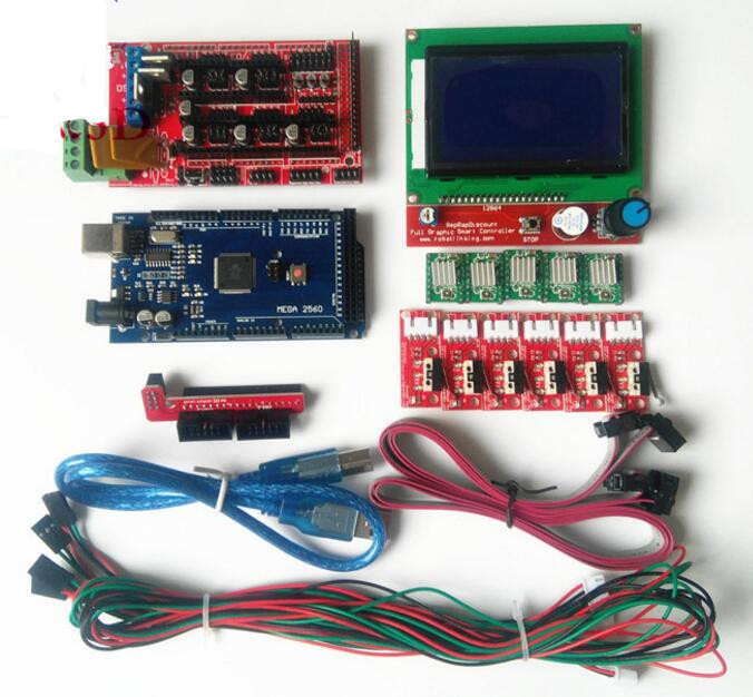 DuoWeiSi 3D Printer Parts Mechanical endstop switch RAMPS 1.4 control board 12864 LCD board Mega 2560 R3 A4988 3D Printer kit ramps 1 4 control board mega 2560 r3 panel 2004 lcd display screen kit for 3d printer