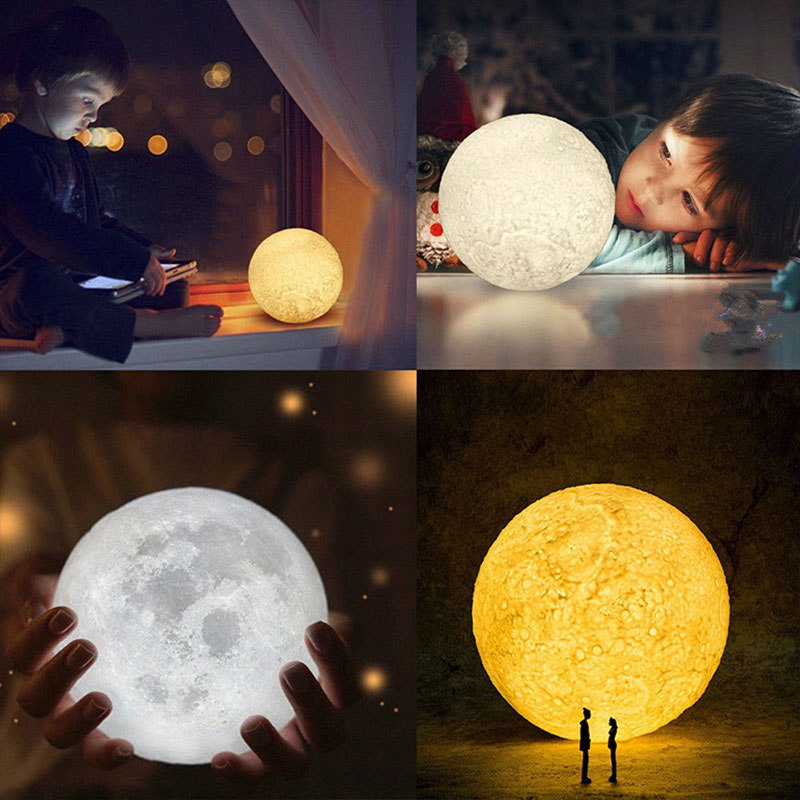 Multicolor 3D Print Lunar Light LED Moon Light Perfect Gift Moon Light Creative Earth Moon Lamp Night Light Drop Shipping