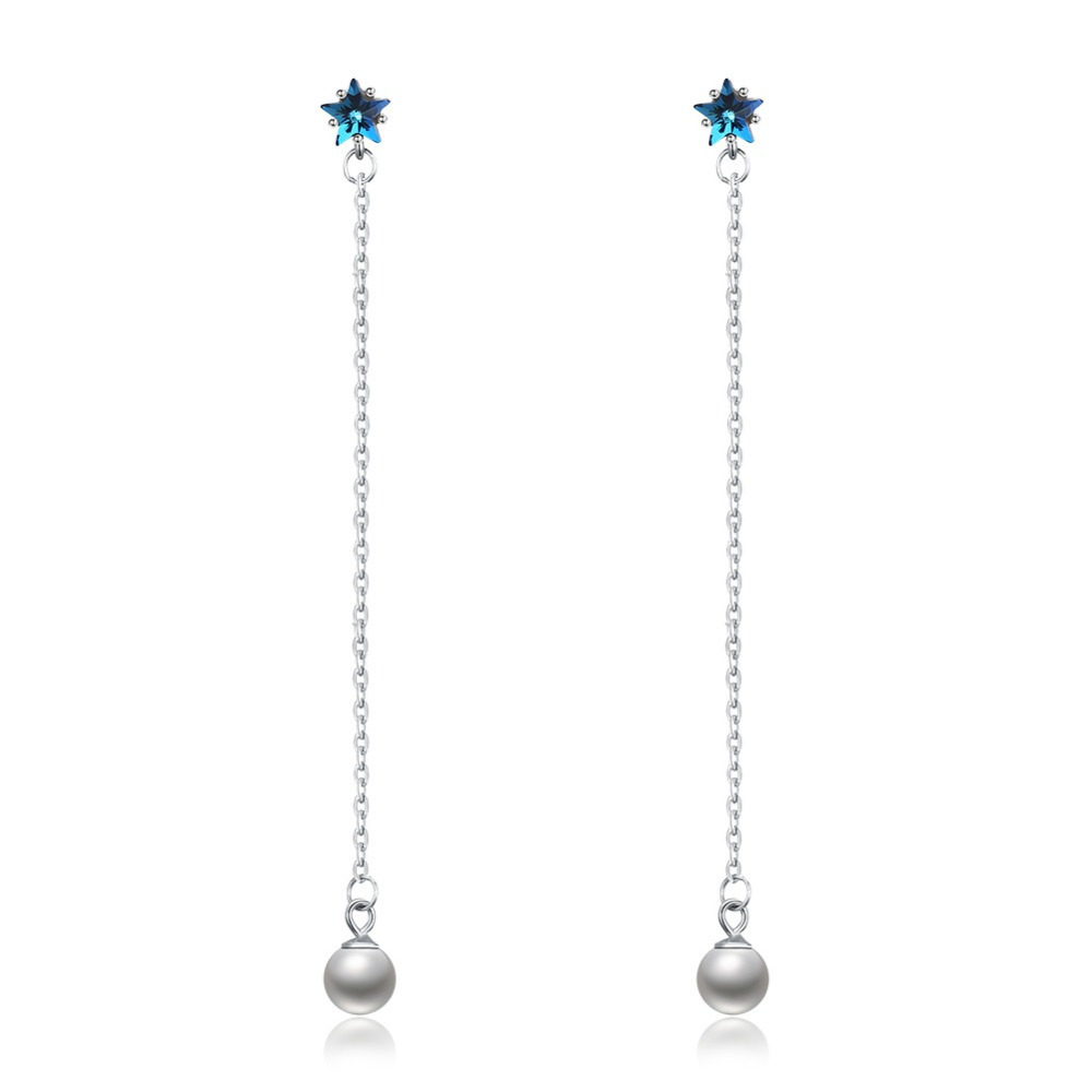 European 925 Sterling silver Pearl crystal earrings female Crystal from Swarovski Simple Temperament Wild crystal earrings