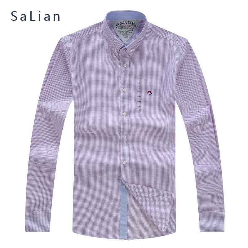 SaLian Men's Brand with high quality cotton fabric long-sleeved shirt blue  pink Plaid Shirt Casual Social Plus Size M-3XL - Popular Pink Plaid Shirt Men-Buy Cheap Pink Plaid Shirt Men Lots