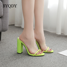 BYQDY Summer Fashion PVC Sandals Sexy Peep Open Toe Transparent Shoes Stiletto Shallow Chunky Heels Plus Size 42