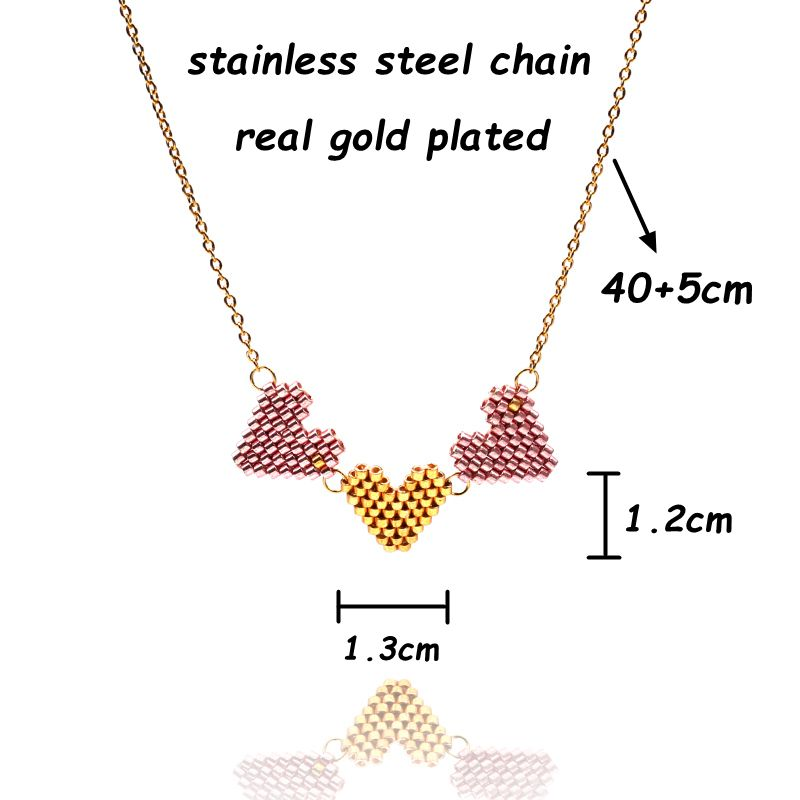 FAIRYWOO Tiny Miyuki Heart Necklace Pendant Bohemia Cute Sweet Gold Chain Pink Collier Necklaces Woman Handmade Gift For Lover in Chain Necklaces from Jewelry Accessories