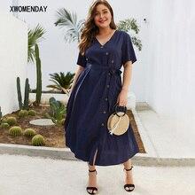 Женское платье средней длины размера плюс 4XL темно-синего цвета, большой размер, на шнуровке, на пуговицах, женское платье с v-образным вырезом, летние платья, праздничные повседневные пляжные платья
