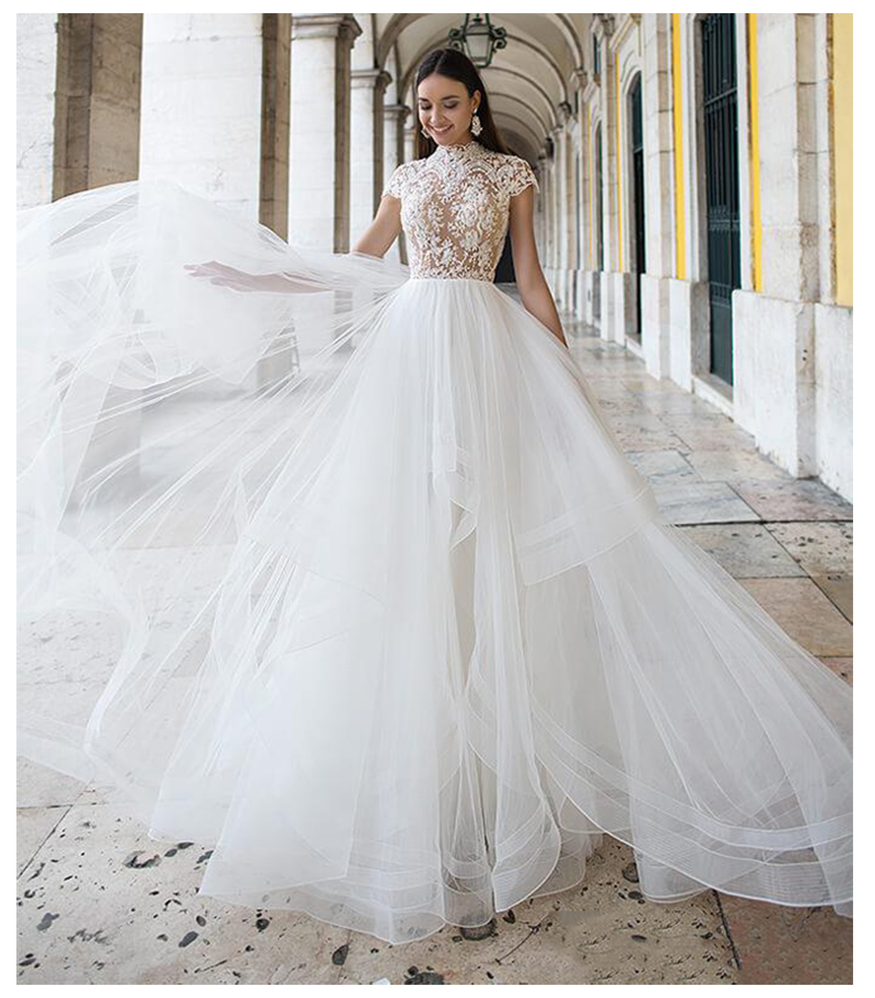LORIE Wedding Dress Vintage High-Neck Appliques Beach Bride Dress Puff Tulle Princess Boho Wedding Gown Floor Length 2019