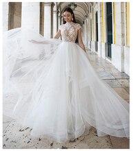 LORIE suknia ślubna w stylu Vintage wysokiej Neck aplikacje plaża suknia dla panny młodej Puff Tulle księżniczka boho weselny suknia piętro długość 2019