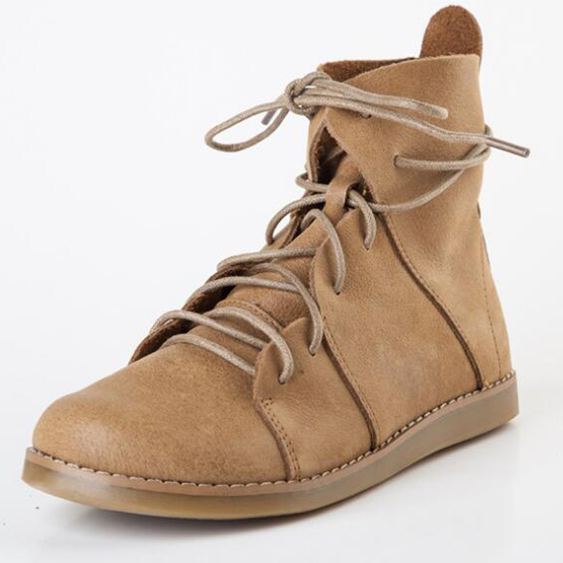 ФОТО femme head layer calf leather boots lace up riding boot women khaki handmade shoes christmas gift real leather vintage flat