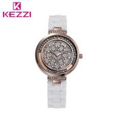 Kezzi Новый Женщины Керамические Часы Повседневная Горный Хрусталь Кварцевые Часы Высокого Качества Роскоши Дамы Наручные Часы Relogio женщина для