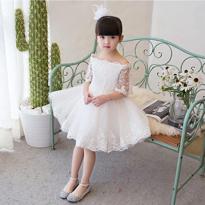 2017 New Luxury Sweet ball gown dress children's girls princess dress wedding evening half sleeves dress costume summer dress half dress roobins half dress
