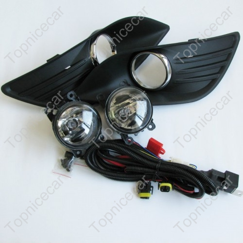 1 Set Clear Lens Driving Fog Light Lamps + Fog Light Bezel Covers + Wire Harness +Bulbs Kits For Ford Focus 2009-2011