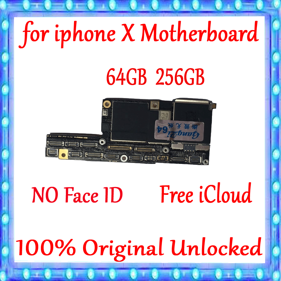 100% Tested <font><b>Motherboard</b></font> For <font><b>iPhone</b></font> <font><b>X</b></font> Mainboard Without <font><b>Face</b></font> <font><b>ID</b></font> Original <font><b>Unlocked</b></font> For <font><b>iPhone</b></font> <font><b>X</b></font> Logic Board 64GB 256GB <font><b>With</b></font> Chips image