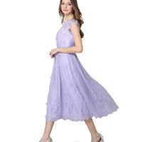 Summer 2017 Ladies Violet Dress High Grade Stereo Flowers Beaded Lace Pleated Long Dresses Woman Dress Vestidos Longos De Verao