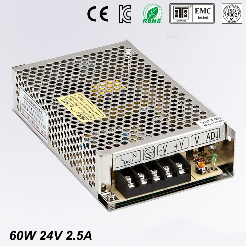 Best quality 24V 2.5A 60W Switching Power Supply Driver for LED Strip AC 100-240V Input to DC 24V free shipping best quality 5v 2a 10w switching power supply driver for led strip ac 100 240v input to dc 5v free shipping