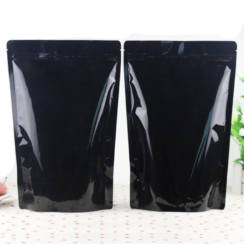 100 Pack Big Size Glossy Black Aluminum Foil Bag Stand Up Zipper Bag Resealable Retail Food
