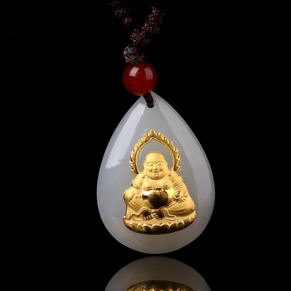 Buddha Pendant Necklace for Men Jade Necklace for Men Gold Jade Good Luck Gold Pendant Buddha Necklace