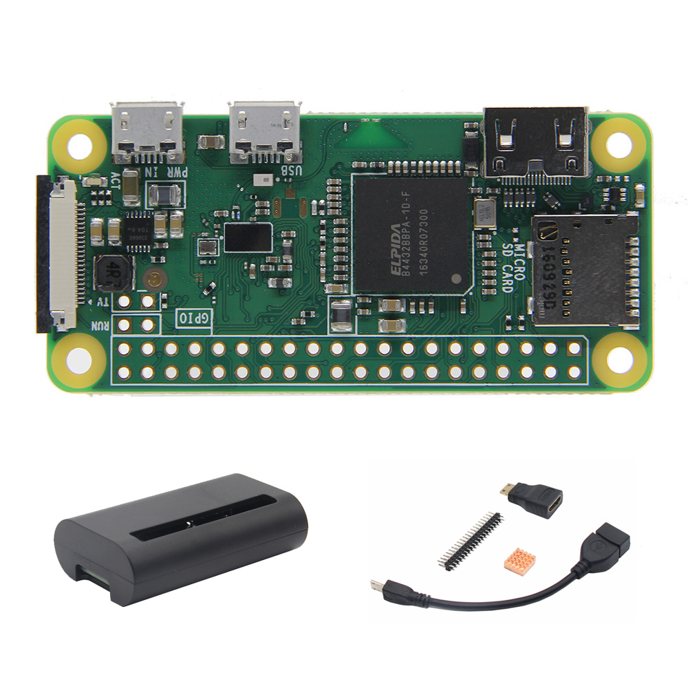 Carte mère sans fil Raspberry Pi Zero W + boîtier + câble OTG + Mini adaptateur HDMI + tête mâle 2*20 broches + Kit dissipateur thermique en cuivre