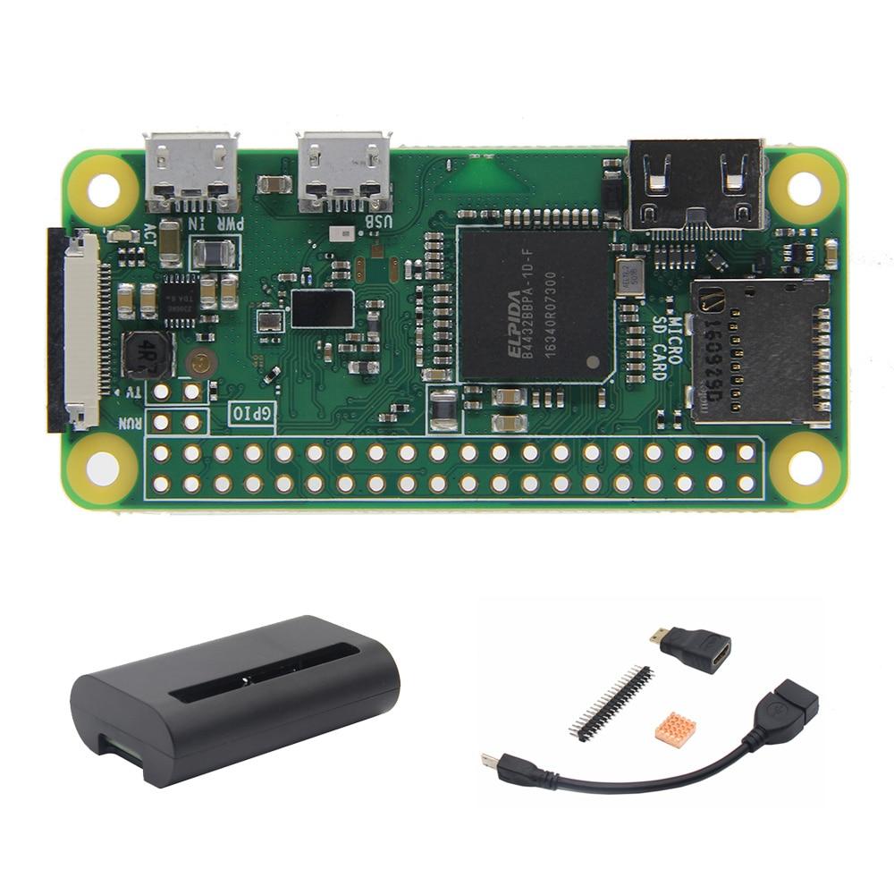 Raspberry Pi Zero W Wireless Mother Board + Case + Otg Cable + Mini Hdmi Adapter + 2*20 Pin Male Header + Copper Heatsink Kit