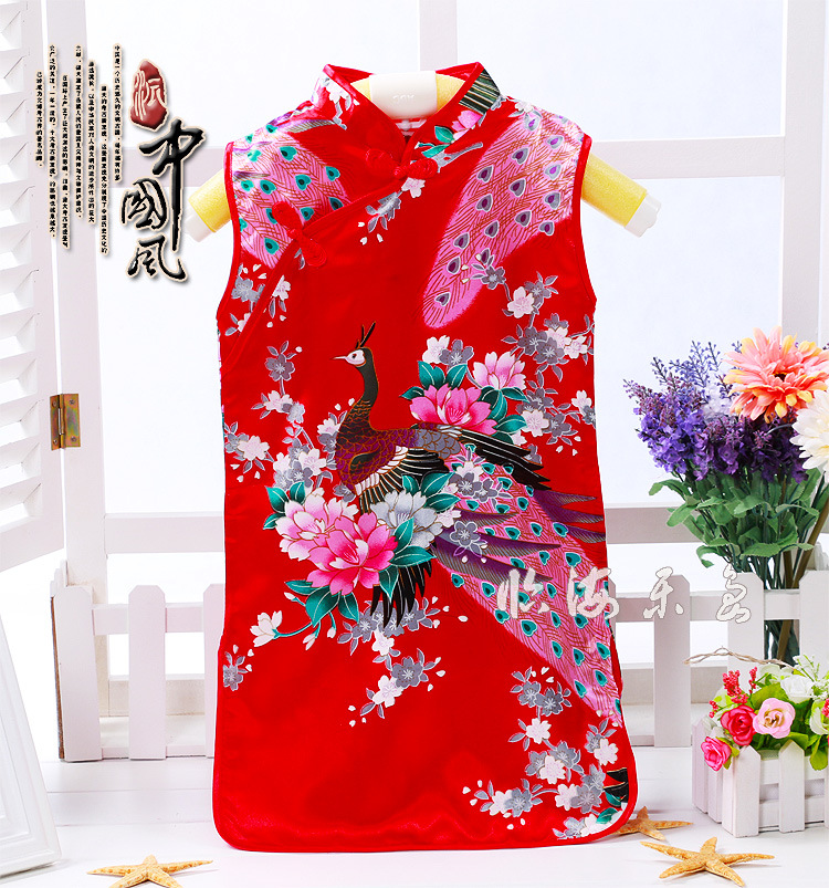 Spring Festival Halloween Baby Girls Cheongsams Chinese Traditional Costumes Princess Wedding Split Dress Satin Robe Kimono