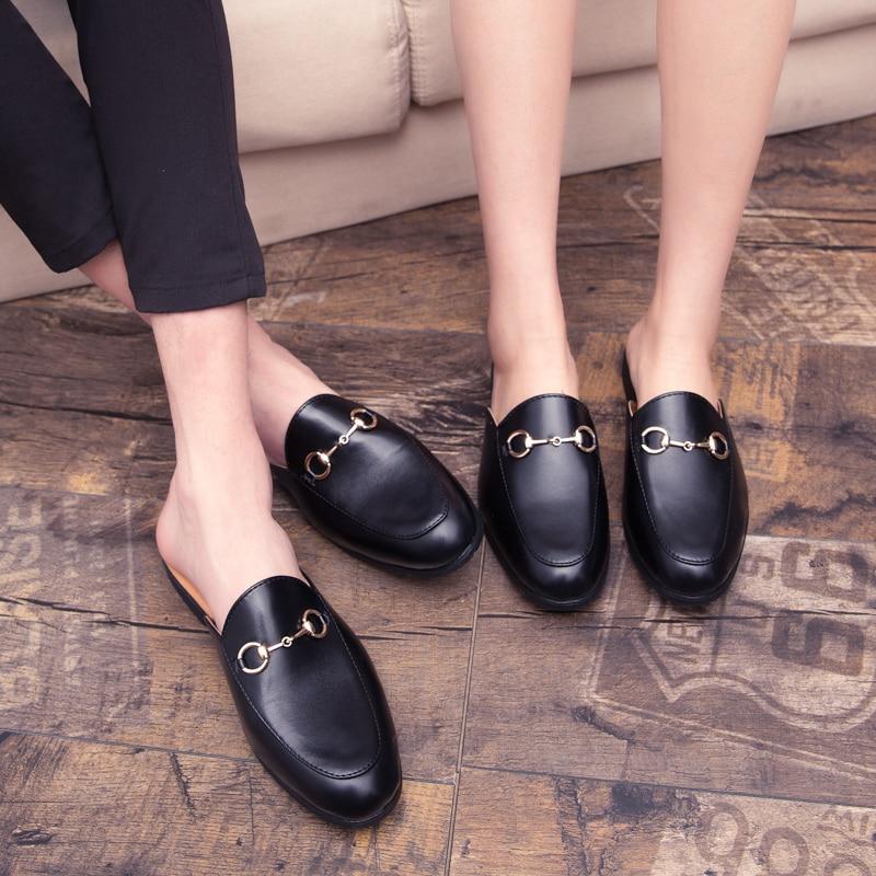 Men Backless dress leather slipper shoes Men unisex Bee prints Horseshoe buckle Casual business wedding Leather shoes women 3