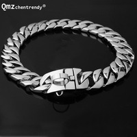 23mm 30mm Exaggerated Extra Coarse 316L Stainless Steel Gold Silver Cuban Gold Pet Dog Chain Neckaces