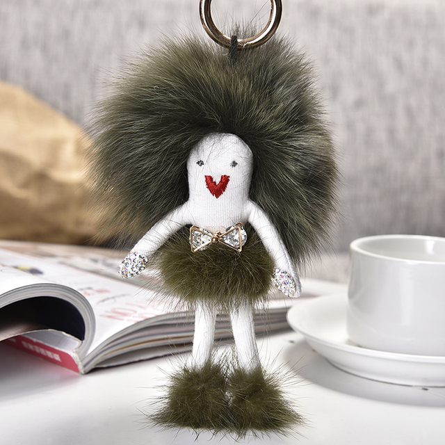 2017 selenadoll Настоящее Рекс foxFur Брелок пушистый Кролик Кукла pom Помпоном pom брелки брелок для женщин Сумка Шарм Подвеска подарок