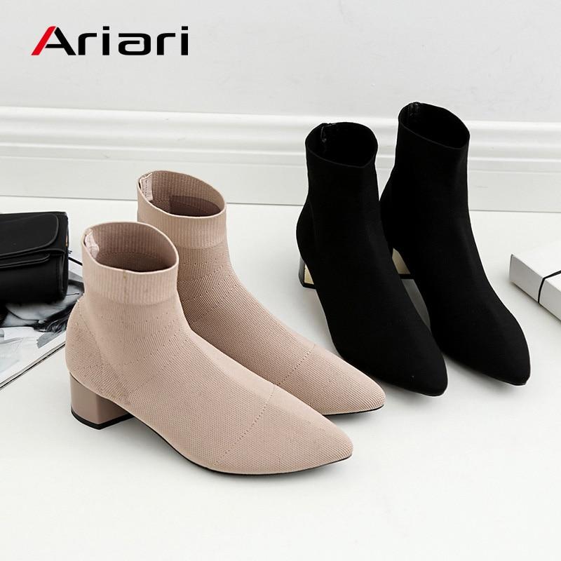 6aa24894 Botas Shoes Toe Calzado Y Zapatos 2019 Tacón Punto Calcetines Elástico  Medio Botines Mujer Shoes Moda ...