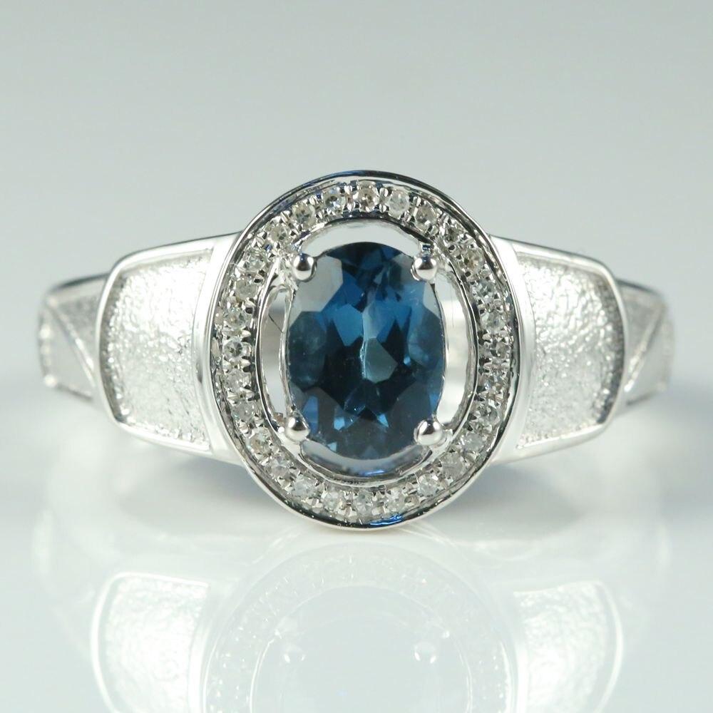 BAIHE Solid 14 к белое золото натуральный Лондонский голубой топаз SI/H природных алмазов для мужчин обручальное свадебное кольцо ювелирные украше