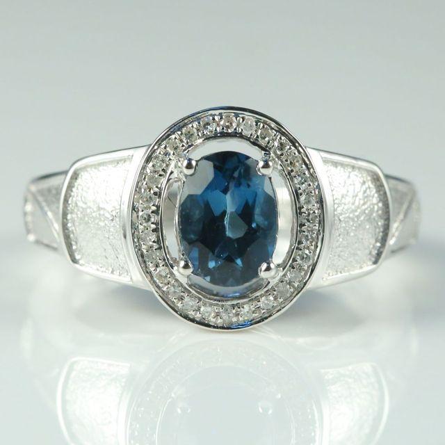 bece9c2cc5db BAIHE sólido 14 k oro blanco Natural Topacio Azul de Londres SI H diamantes  naturales