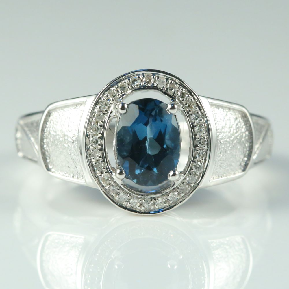 Solid 14k White Gold Natural London Blue Topaz SI/H Natural Diamonds Men Ring Engagement Wedding Fine Jewelry