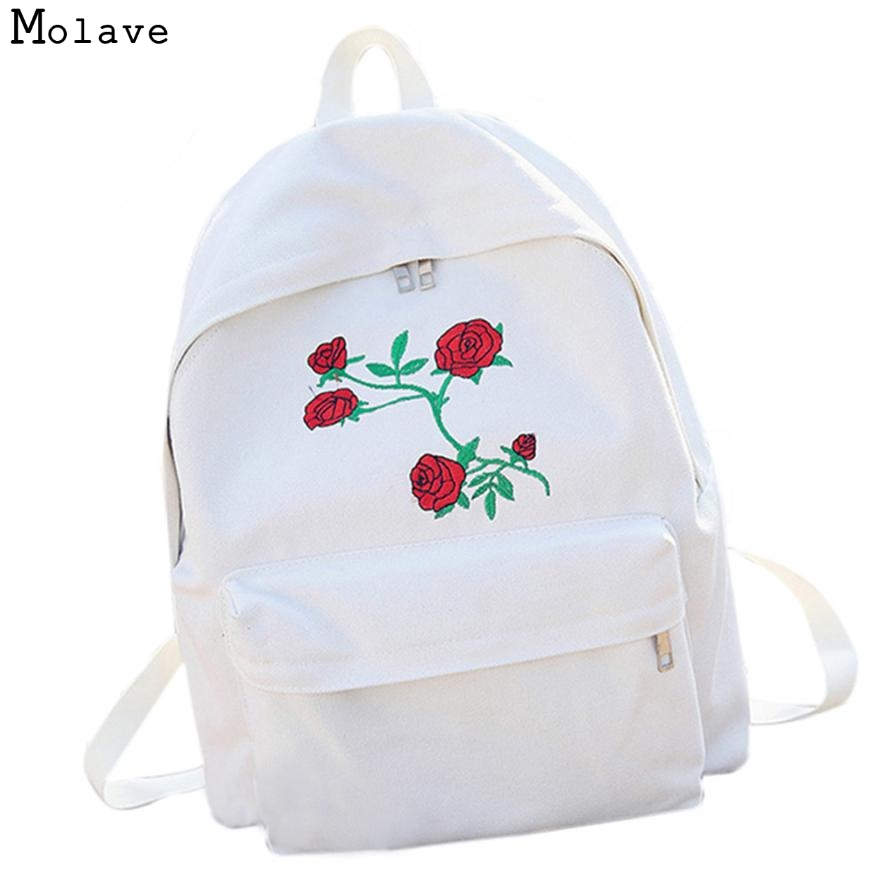 Naivety 2017 Women Backpack Rose Flower Embroidery Canvas Bag Travel Charger Hippo Dinamic Atcdinhsp Rucksack Shoulder Bags 30s7503 Drop Shipping