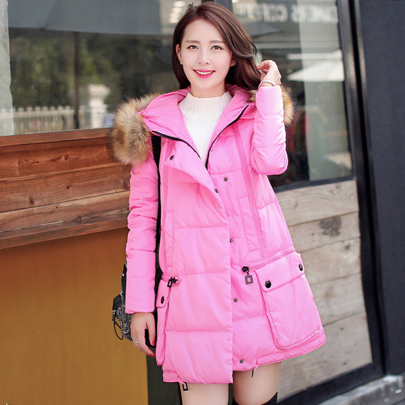 ФОТО New Female Winter Cotton Down Solid Real Winter Jacket Women's Coat Long Sections Casual Collar Loose Coat Thicker Lady WWF34