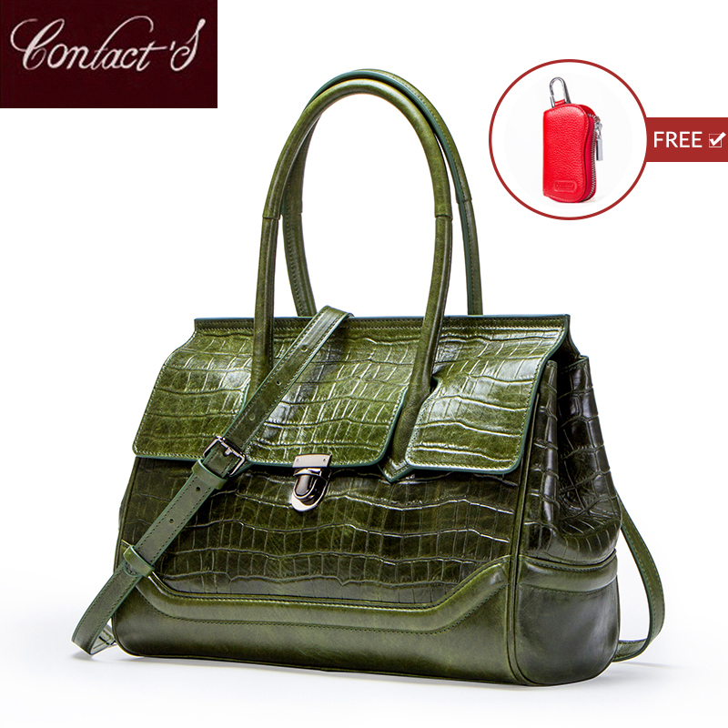 Contact's New Vintage Women Messenger Bags Crocodile Design Big Shoulder Bag Genuine leather Tote Bag Ladies Clutch Handbags-in Top-Handle Bags from Luggage & Bags    1