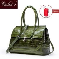 Contact's New Vintage Women Messenger Bags Crocodile Design Big Shoulder Bag Genuine leather Tote Bag Ladies Clutch Handbags