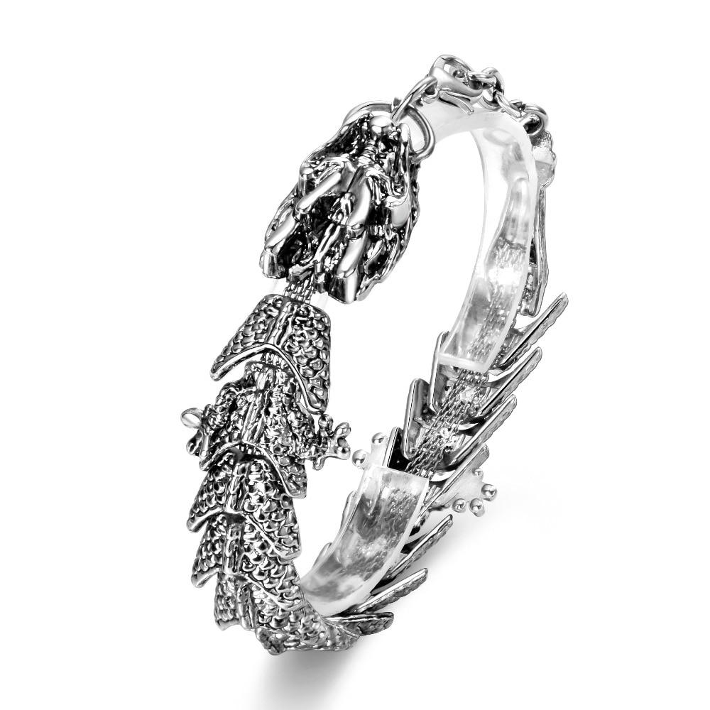 Hesiod Punk Dragon Charm Bracelets Men Fashion Jewelry Vintage Retro Stainless Steel Metal Chain Bracelets Bangles pulsera