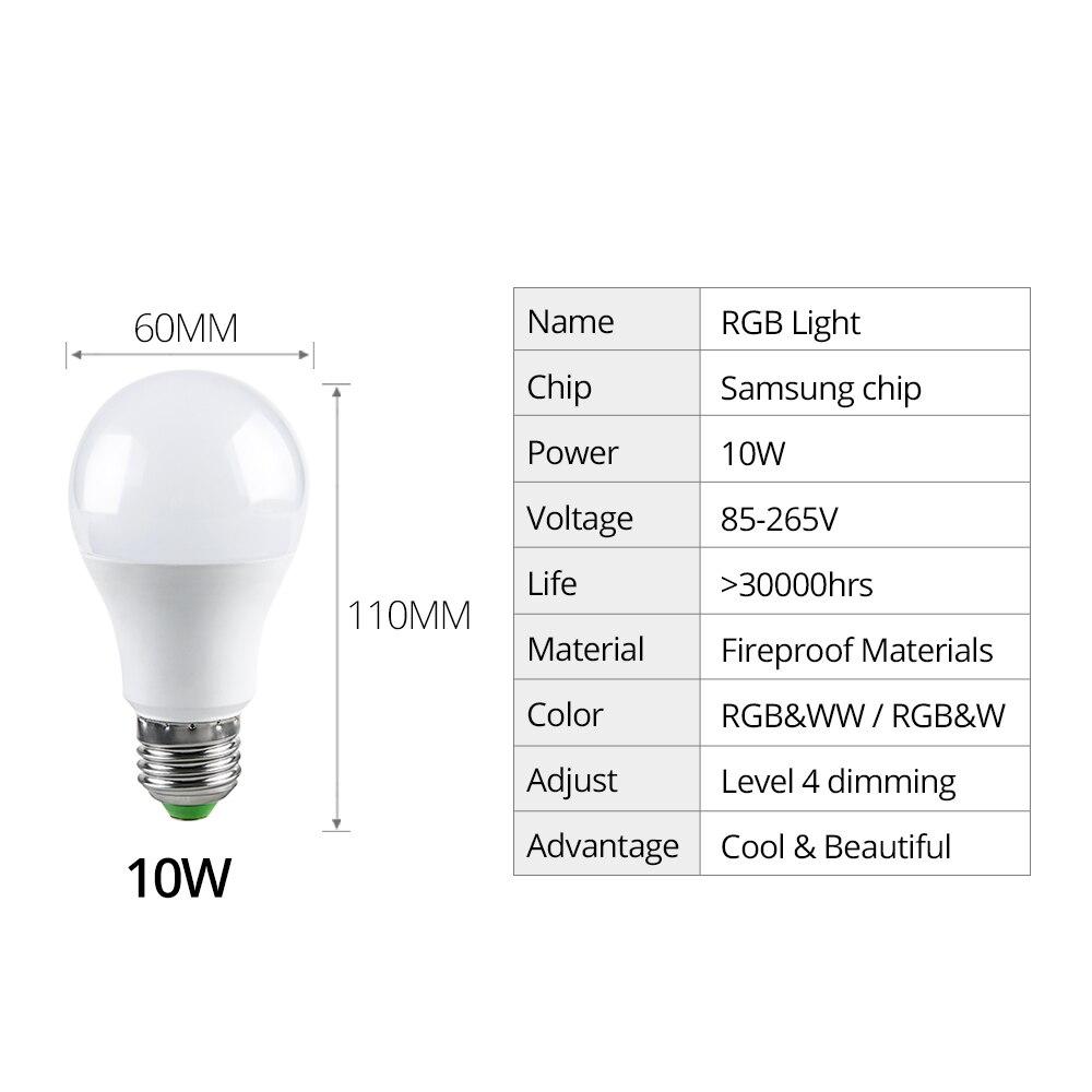Foxanon 10 W RGB LED ampoule lumière AC 85-265 V lampe à LED avec 24Key télécommande magique coloré veilleuses pour décor de fête à la maison - 3