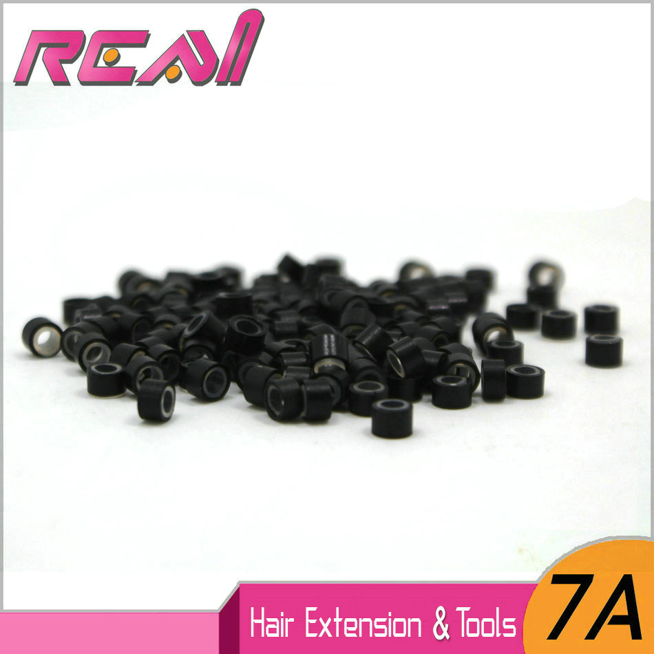 Epacket- 2000pcs 5.0*3.0*3.0mm Micro Silicone Ring/Link/Bead/Tubes Tool For Feather Hair Extensions 200pcs/Jar ...