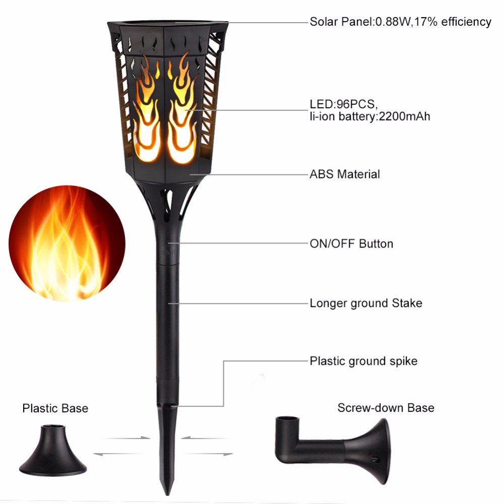 Waterproof Solar Flame Light solar Sensor Lawn Lamp LED Flame Lamps Dancing Flickering Lights for Garden Yard Wedding Outdoor stainless steel solar lawn light waterproof led solar lawn lamp outdoor garden yard lamp wedding party christmas lawn lamps