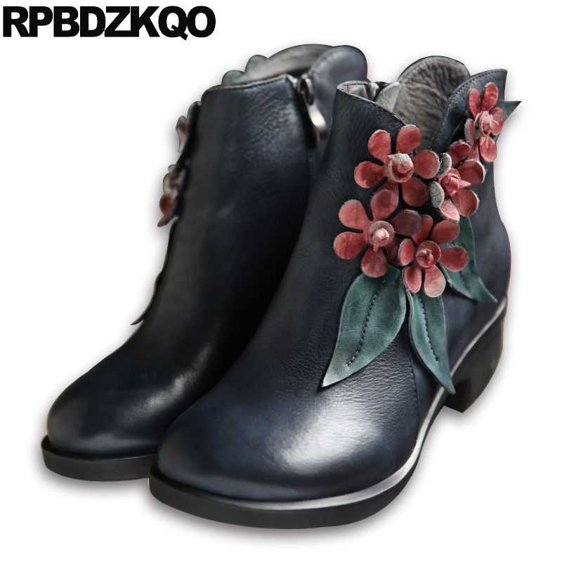 Round Toe Ankle Handmade Genuine Leather Brand Women Winter Boots Chunky Flower 2017 Autumn Shoes Fall Retro Fur Grey Chinese women ankle boots handmade genuine leather woman boots autumn winter round toe soft comfotable retro boot shoes female footwear