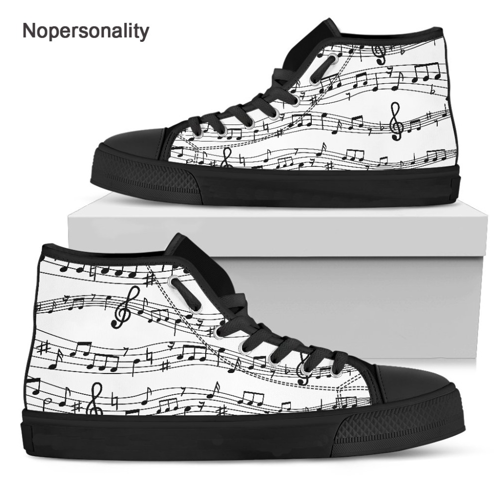 Nopersonality Classic Music Notes Print High top Canvas Shoes for Men Breathable Casual Male Vulcanize Shoes