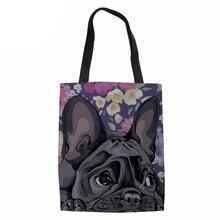 NoisydesignsCanvas Handbag Shopper Bag for Lady Girls Beach Bag 3D Dog French Bulldog Daisy Boxer Print  Women Shopping Coth Bag