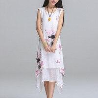 OLGITUM New Fashion Summer Dress Sleeveless Cute Women Dresses Casual Cotton Linen Dress Printed O Neck