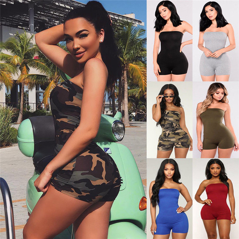 Women Casual Sleeveless Bodycon Romper   Jumpsuit   Clubwear Playsuit Off Shoulder Strapless Print Camouflage Short Pants Rompers