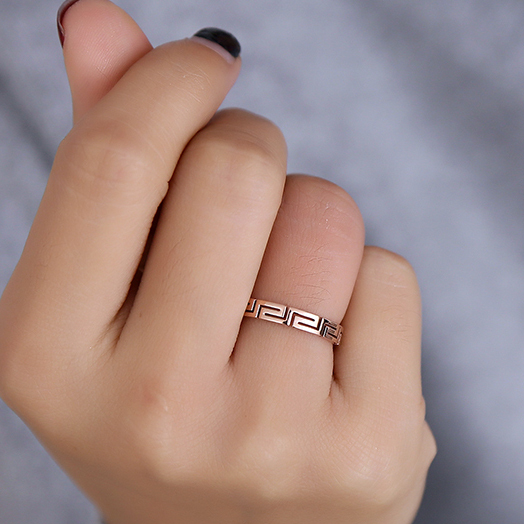New Arrival Rose Gold color Titanium Steel Hollow Out Design Depth Women 3 mm Ch