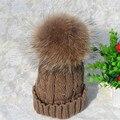 Роскошная женская Мода Толстые Теплые Кабель Вязать Шапочки Ручной Работы Hat с Мягкой Большой Меха Pom Pom