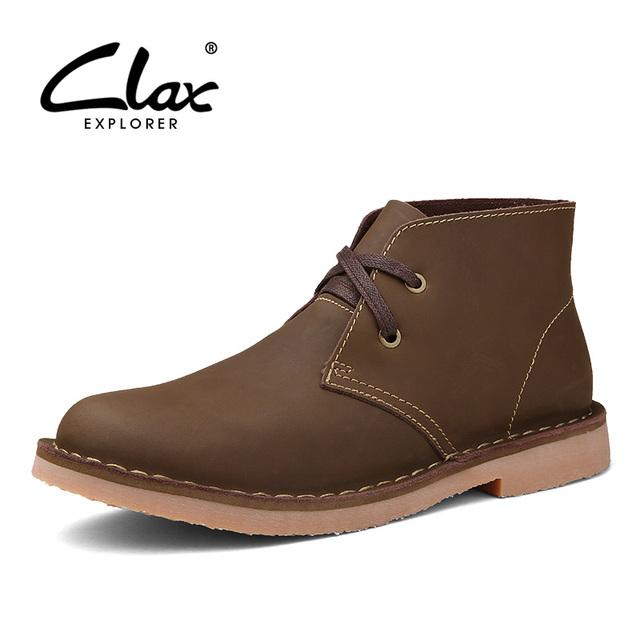 Clax Hombres Del Desierto Botas de Cuero Otoño Invierno Botines con Piel Caliente de Los Hombres de La Vendimia Zapatos Casuales